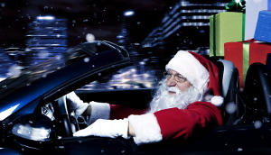 Santa Driving at Christmas