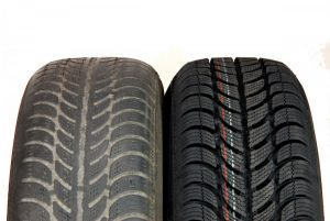 Tyres new and worn